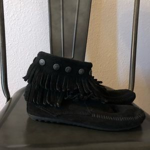 Minnetonka Shoes - Minnetonka Black Fringe Ankle Boots